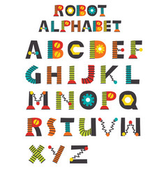colorful robot alphabet vector image