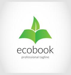 Creative eco book logo design vector