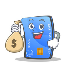 Credit card character cartoon with money bag vector
