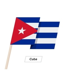 Cuba Ribbon Waving Flag Isolated on White vector