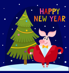 Cute cartoon greeting card pig with christmas tree vector