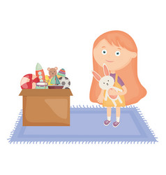 Cute little girl with rabbit stuffed and toy box vector