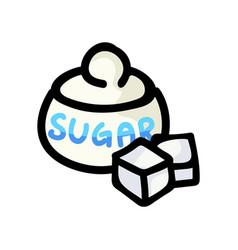 Cute sugar pot cartoon hand vector
