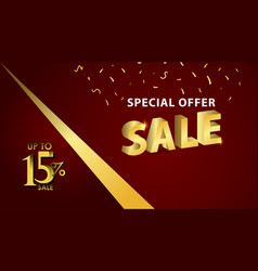 Discount up to 15 special offer gold banner vector