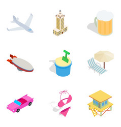 Dismiss icons set isometric style vector