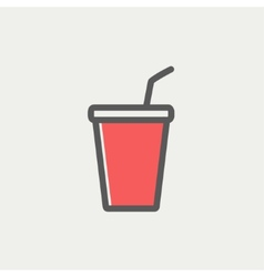 Disposable cup with lid and straw thin line icon vector image