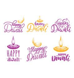 Diwali festival set of hand lettering lamp vector