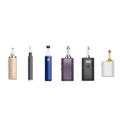 Electronic cigarette icon set realistic style vector