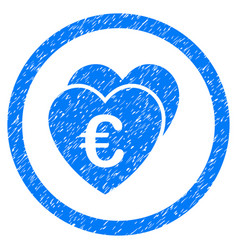 euro favorite hearts rounded icon rubber stamp vector image