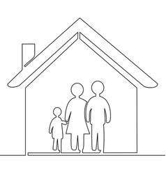 family at house icon continuous one line vector image