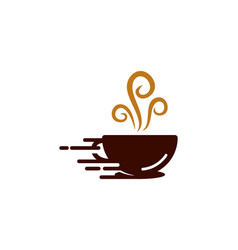 Fast coffee logo icon design vector