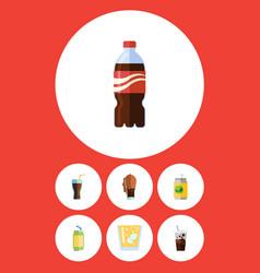 Flat icon beverage set of beverage lemonade vector