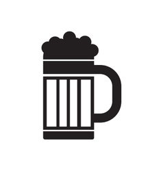 Flat icon in black and white glass of beer vector