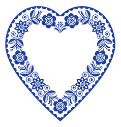 Folk heart design scandinavian pattern vector