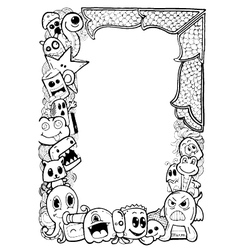 Funny animals frame doodle vector image