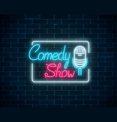 Glowing neon comedy show sign with retro vector