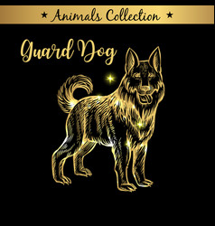 golden and royal hand drawn emblem of farm guard vector image