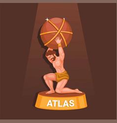 Greek titan atlas carrying world statue figure vector