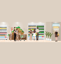 Grocery shopping place interior vector