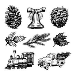 hand drawn christmas toys vector image