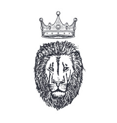 hand drawn lion head with crown lion face vector image