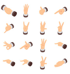 Hand gesture pointer icons set isometric style vector
