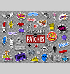 hipsters teens stickers and patches vector image