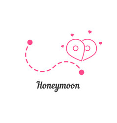 Honeymoon with route and map pin vector