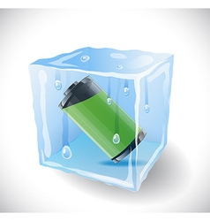 Ice cube with full battery vector image