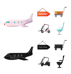 isolated object airport and airplane icon vector image