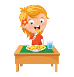 Kid eating meal vector