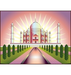 landscape with taj mahal in india vector image