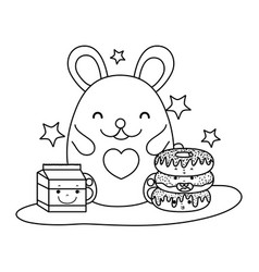 line cute mouse with donuts and milk box vector image