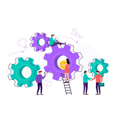 little people business organization with circle vector image