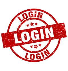 login round red grunge stamp vector image