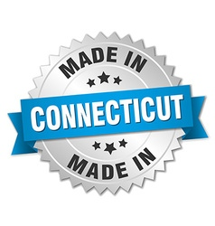 Made in connecticut silver badge with blue ribbon vector