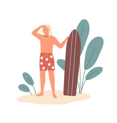 male surfer standing on sand holding surfboard vector image