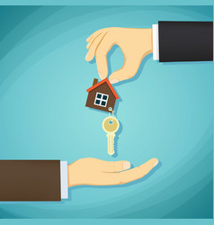 man holds in his hand the keys to the house deal vector image