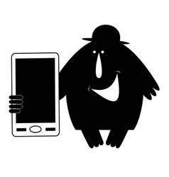 man in the bowler hat holds a smart phone vector image