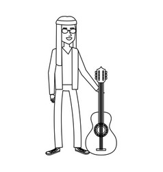 man playing the guitar character hippy lifestyle vector image