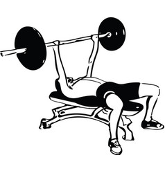 man with barbell doing squats in gym vector image