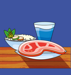 meat steak with rice and beverage vector image