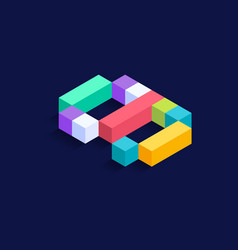 number 9 isometric colorful cubes 3d design vector image