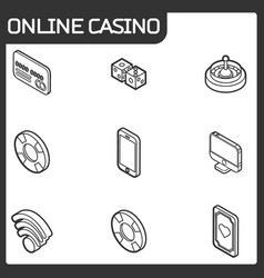 online casino outline isometric icons vector image