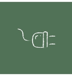 Plug icon drawn in chalk vector