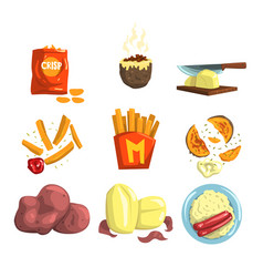 Potato food dishes set snacks and cooked potato vector