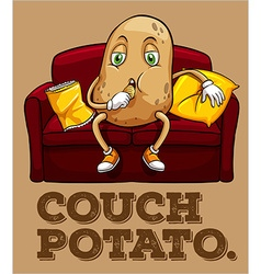 Potato sitting on couch vector image