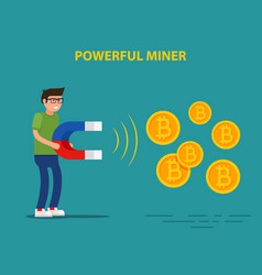 powerful miner mining bitcoin vector image