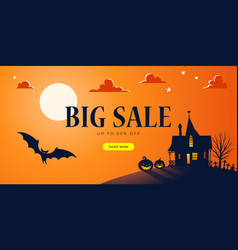 Promo halloween background template big sale vector