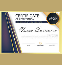Purple gold elegance horizontal certificate vector
